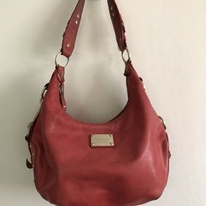 MICHAEL KORS Red Leather Nameplate Bag
